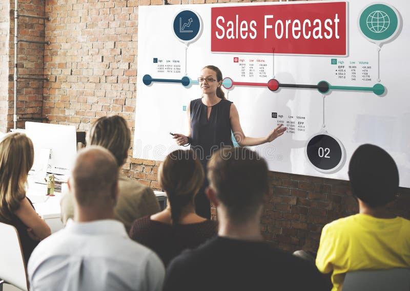 Begrepp för marknadsföring för vision för planläggning för försäljningsprognosstrategi arkivbild
