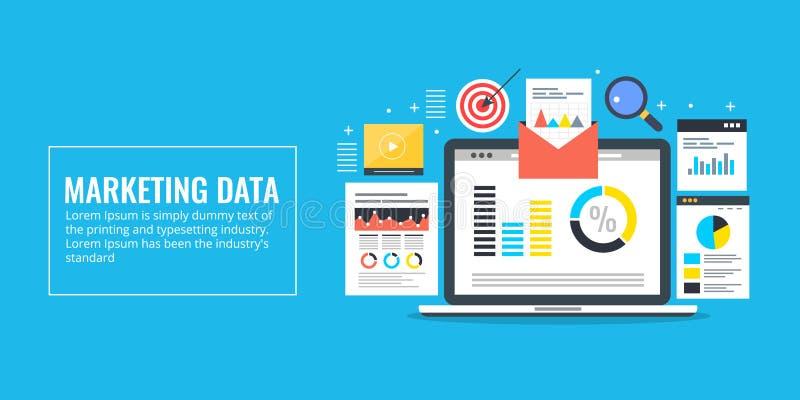 Begrepp för marknadsföringsdataanalys, informations-, forskning-, revisions- och rapport Plant baner för designmarknadsföringsvek royaltyfri illustrationer