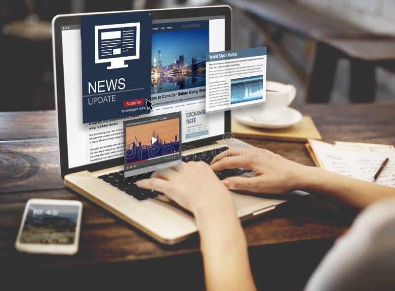 Begrepp för massmedia för rubrik för nyheternauppdateringjournalistik royaltyfria foton