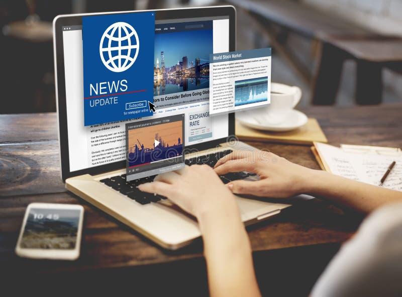 Begrepp för massmedia för rubrik för nyheternauppdateringjournalistik fotografering för bildbyråer