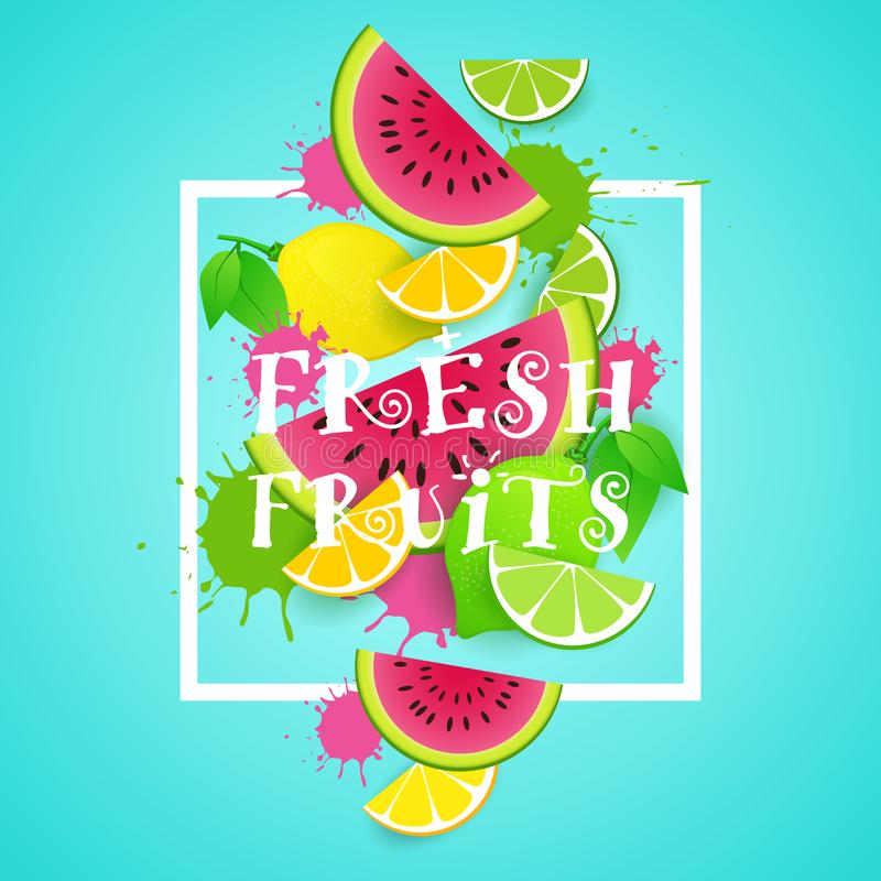 Begrepp för mat för bakgrund för nya frukter organiskt sunt royaltyfri illustrationer