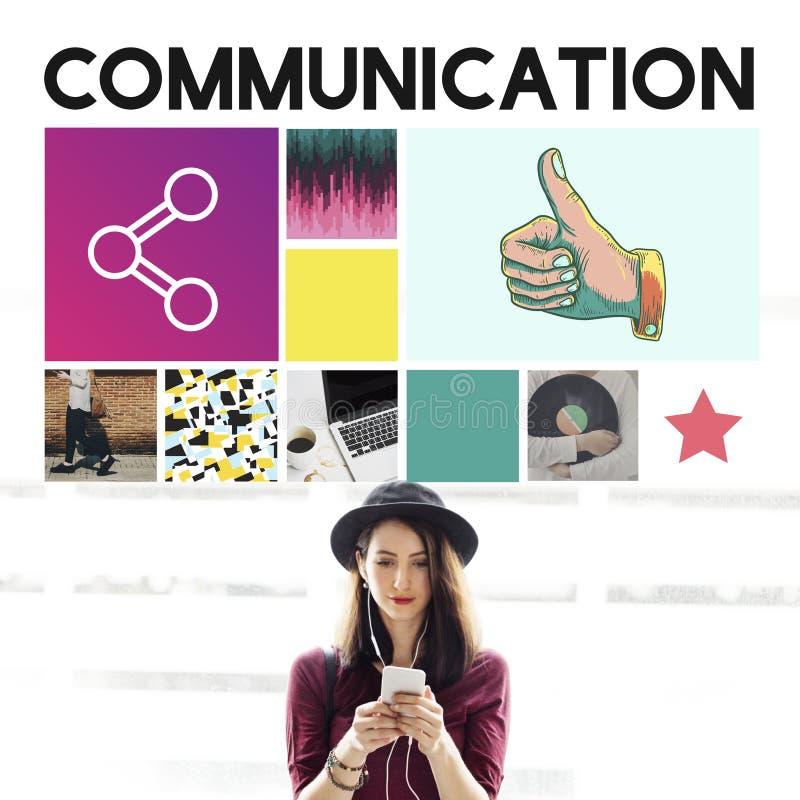 Begrepp för meddelande för information om kommunikationsanslutning fotografering för bildbyråer
