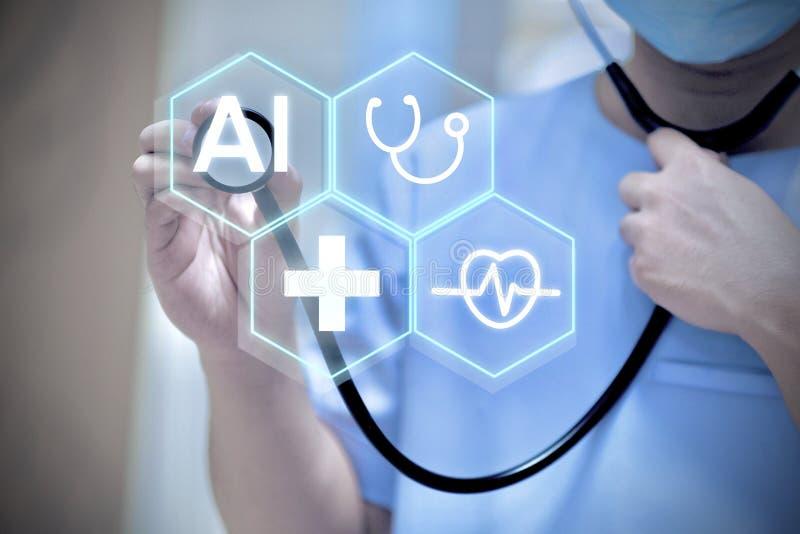 Begrepp för medicinsk bakgrund för AI royaltyfri bild