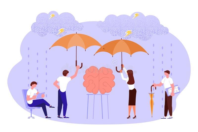 Begrepp för mental hälsaproblem stock illustrationer