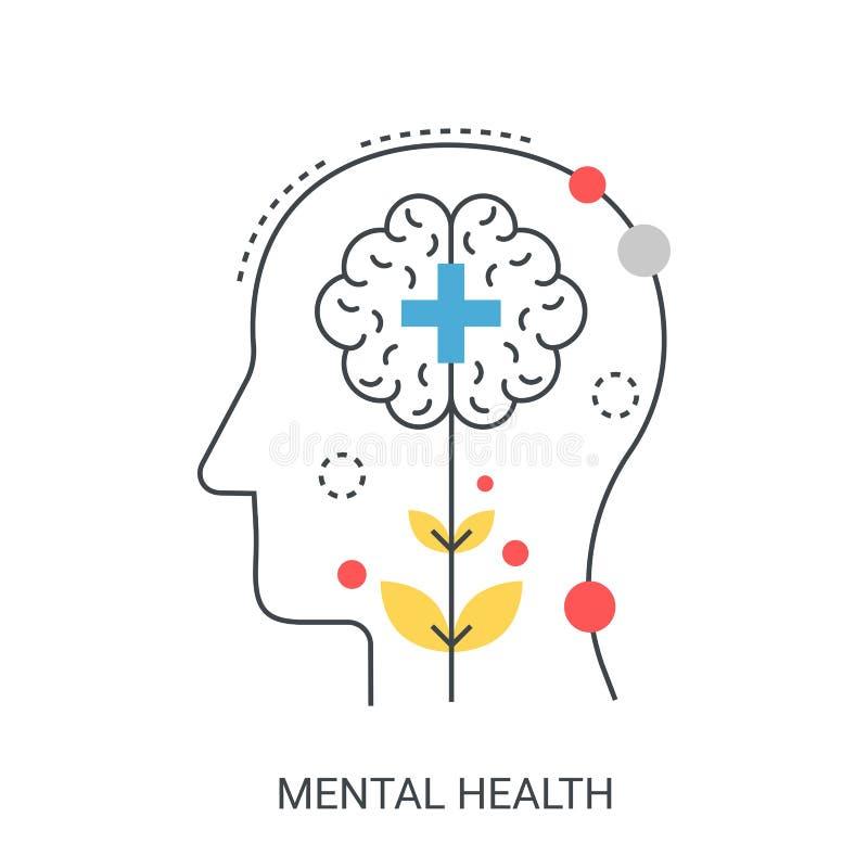 Begrepp för mental hälsavektorillustration stock illustrationer
