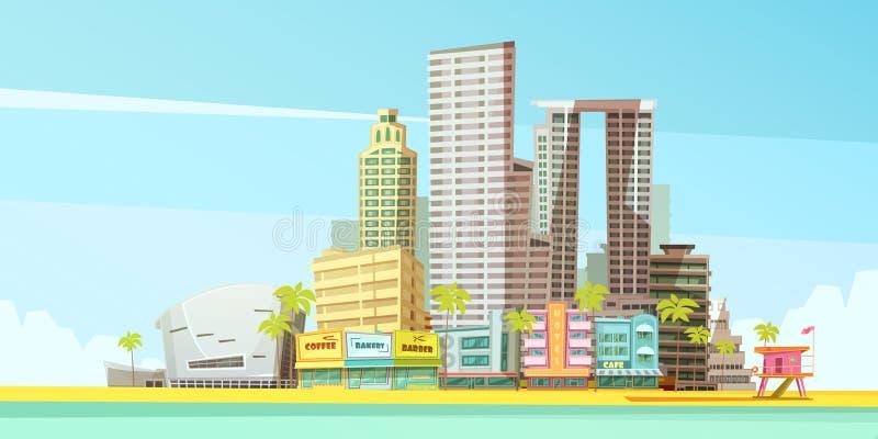 Begrepp för Miami horisontdesign royaltyfri illustrationer