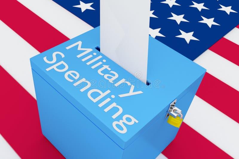 Begrepp för militär utgifter royaltyfri illustrationer