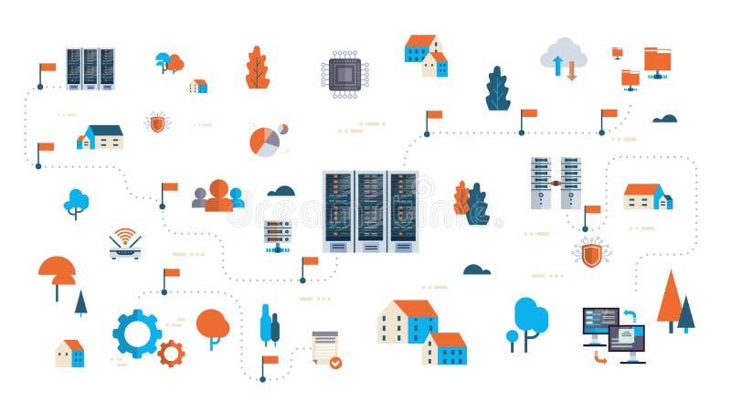Begrepp för mitt för databas för internetuppkoppling för synkronisering för lagring för moln för översikt för server för flödesdi vektor illustrationer