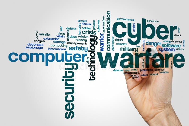 Begrepp för moln för Cyberkrigord på grå bakgrund royaltyfri foto