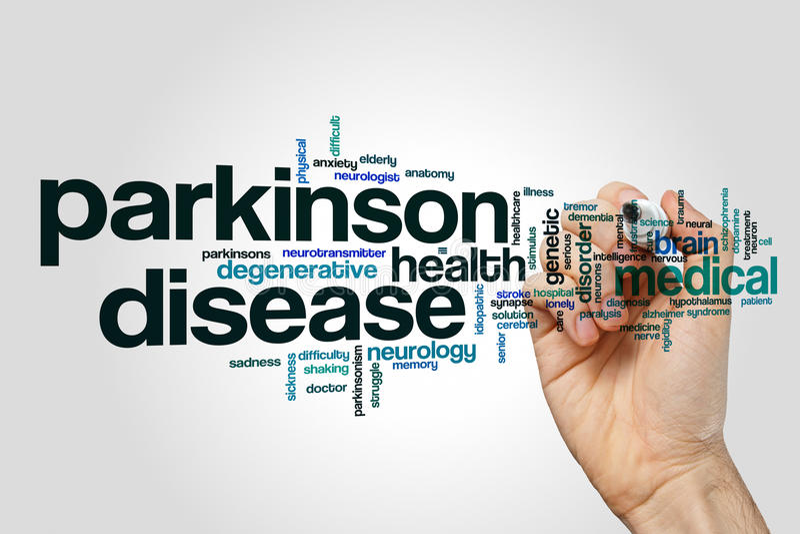 Begrepp för moln för ord för Parkinson sjukdom fotografering för bildbyråer