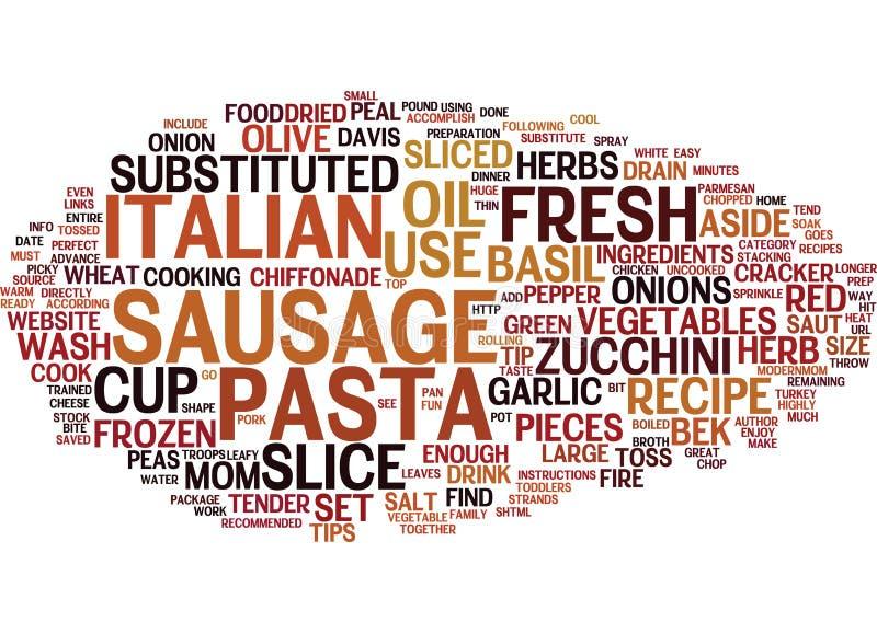 Begrepp för moln för ord för bakgrund för text för pasta för korv för brandsmällare italienskt royaltyfri illustrationer