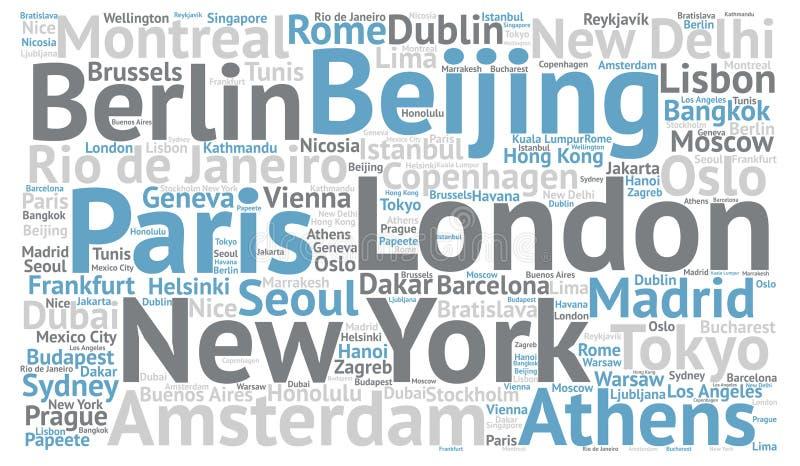 Begrepp för moln för ord för loppstadsdestinationer stock illustrationer