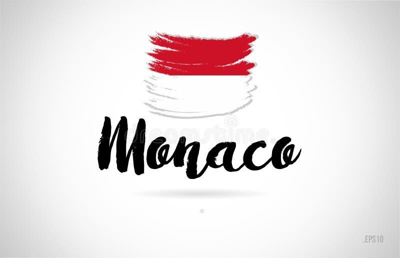 begrepp för Monaco landsflagga med logo för grungedesignsymbol stock illustrationer