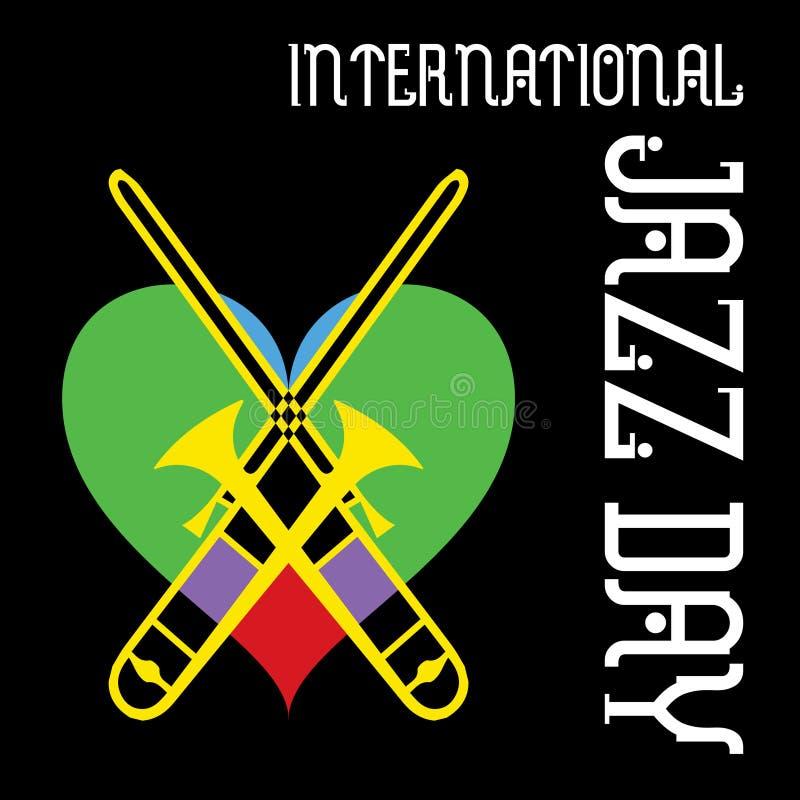 Begrepp för musik för internationell jazzdagvektor minsta royaltyfri illustrationer