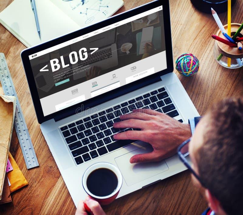Begrepp för nätverk för massmedia för Homepage för blogg Blogging socialt arkivbild