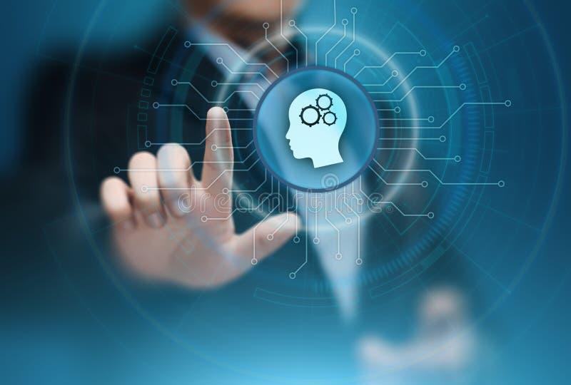 Begrepp för nätverk för internet för teknologi för affär för lära för maskin för Digital Brain Artificial intelligensAI arkivfoto