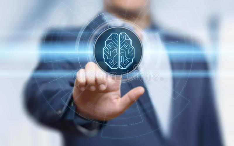 Begrepp för nätverk för internet för teknologi för affär för lära för maskin för Digital Brain Artificial intelligensAI royaltyfri foto