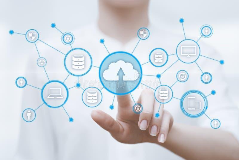 Begrepp för nätverk för lagring för internet för molnberäkningsteknologi arkivbild