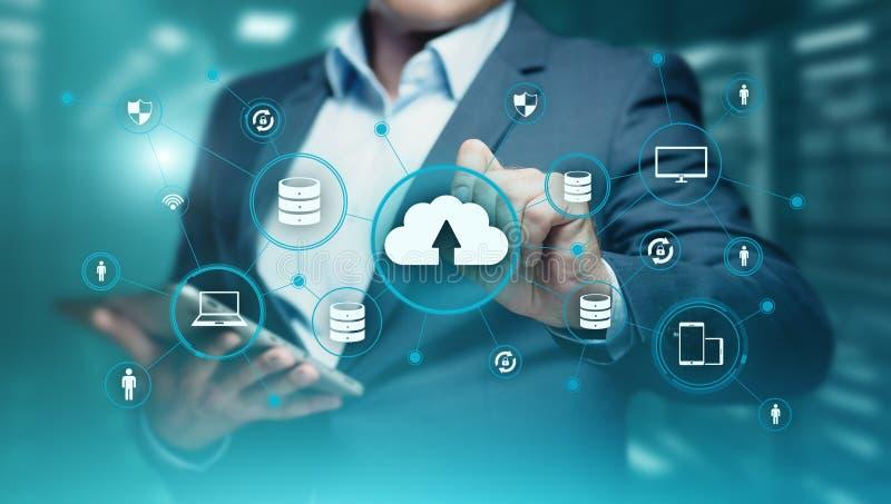 Begrepp för nätverk för lagring för internet för molnberäkningsteknologi royaltyfria bilder