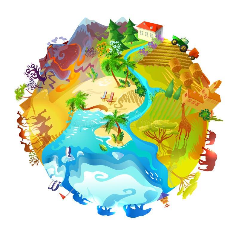 Begrepp för natur för tecknad filmjordplanet royaltyfri illustrationer