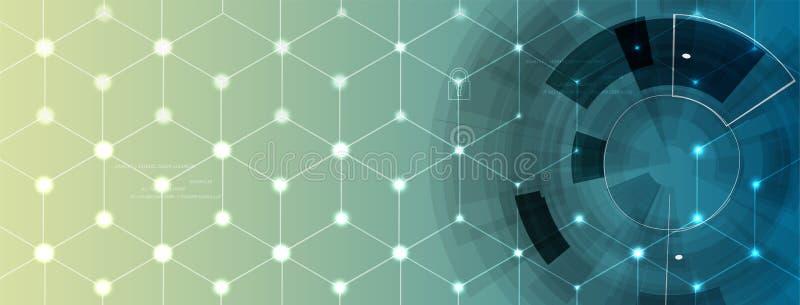 Begrepp för nerv- nätverk Förbindelseceller med sammanlänkningar Tekniskt avancerad process vektor illustrationer