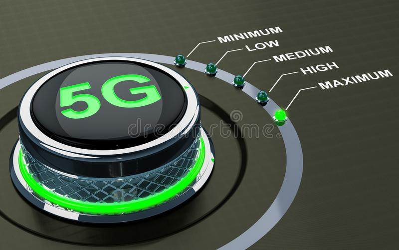 begrepp för nivå 5G, knopp 3d stock illustrationer