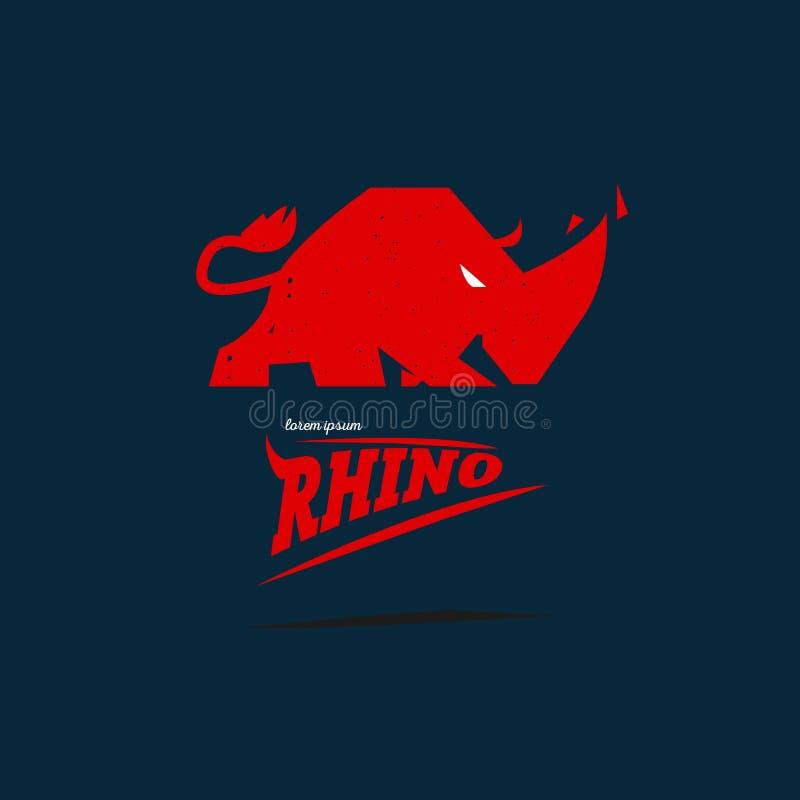 Begrepp för noshörninglogodesgin - stock illustrationer