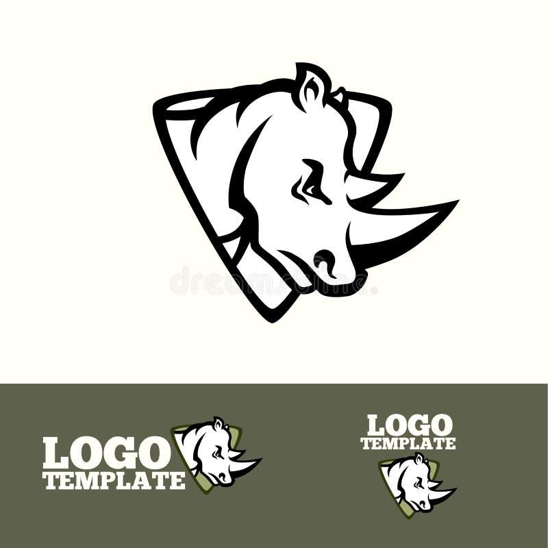 Begrepp för noshörninglogovektor för sportlag, märken etc. stock illustrationer