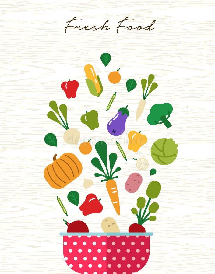 Begrepp för ny mat med organiska grönsaksymboler royaltyfri illustrationer