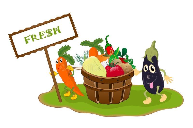 Begrepp för nya grönsaker stock illustrationer