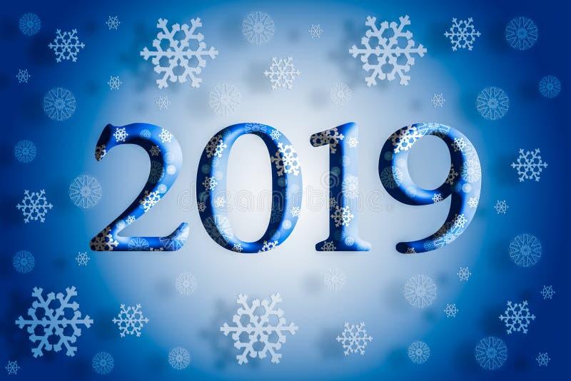 begrepp för nytt år för 2019 jul, fallande snöflingor med skugga stock illustrationer
