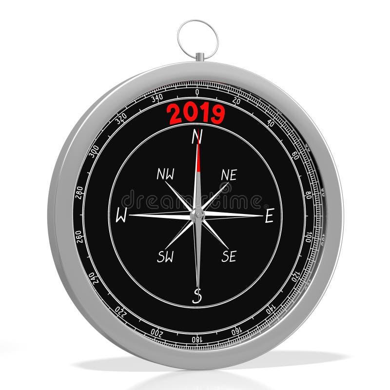 Begrepp för nytt år 2019 - kompass royaltyfri illustrationer