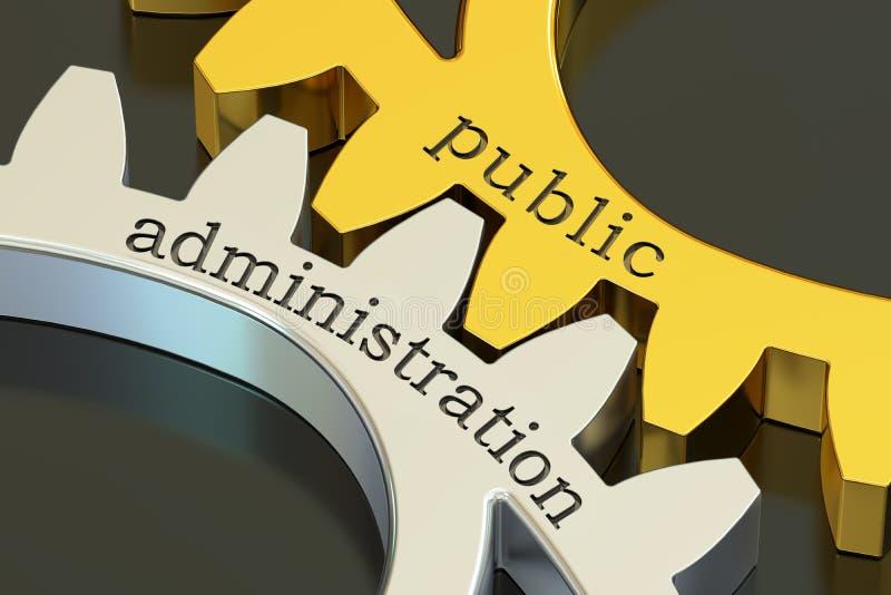 Begrepp för offentlig administration på kugghjulen, tolkning 3D vektor illustrationer