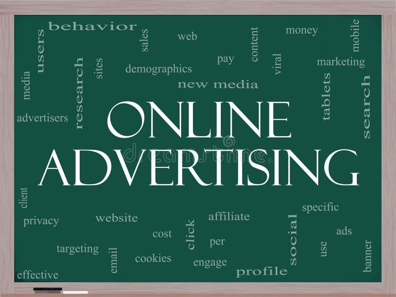 Begrepp för online-advertizingordmoln på en svart tavla royaltyfri illustrationer
