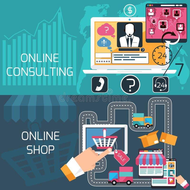 Begrepp för online-shopping och konsulterande service stock illustrationer