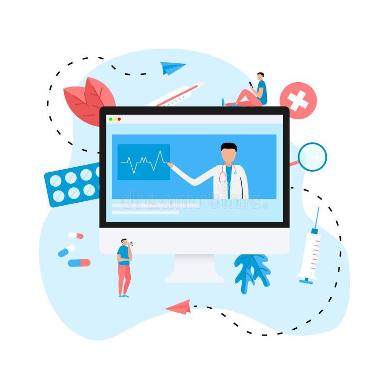 Begrepp för online-sjukvård och för medicinsk konsultation på skrivbordet Plan illustration för vektor stock illustrationer