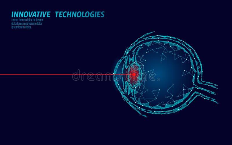 Begrepp för operation för medicin för laser-visionkorrigering Innovationteknologihälsovård Lågt poly polygonal för öga 3D royaltyfri illustrationer