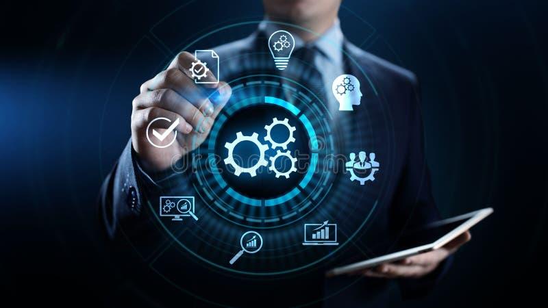 Begrepp för optimisation för innovation för teknologi för affärsprocessautomation industriellt royaltyfri illustrationer