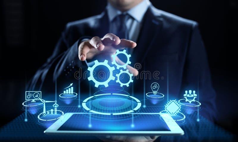 Begrepp för optimisation för innovation för teknologi för affärsprocessautomation industriellt vektor illustrationer