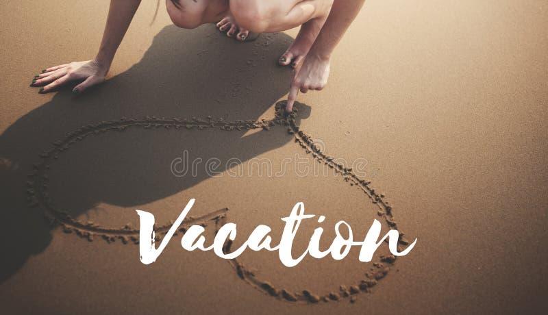 Begrepp för ord för minnen för frihet för semester för sommarstrandavbrott royaltyfria foton