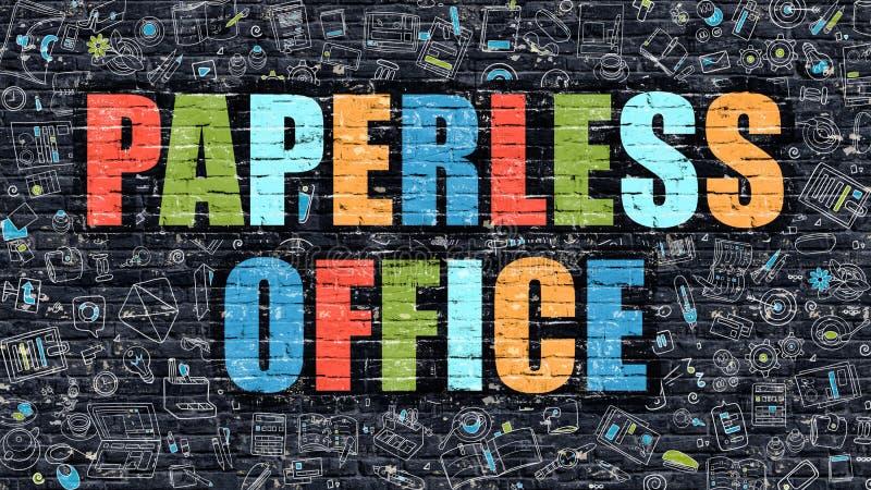 Begrepp för Paperless kontor Flerfärgat på mörka Brickwall royaltyfri illustrationer