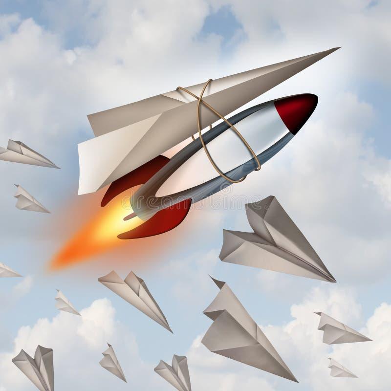 Begrepp för pappers- flygplan stock illustrationer