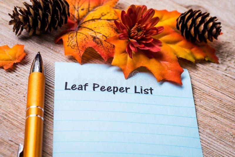 Begrepp för Peeper för blad för nedgånglövverk på anteckningsboken och träbräde arkivbilder