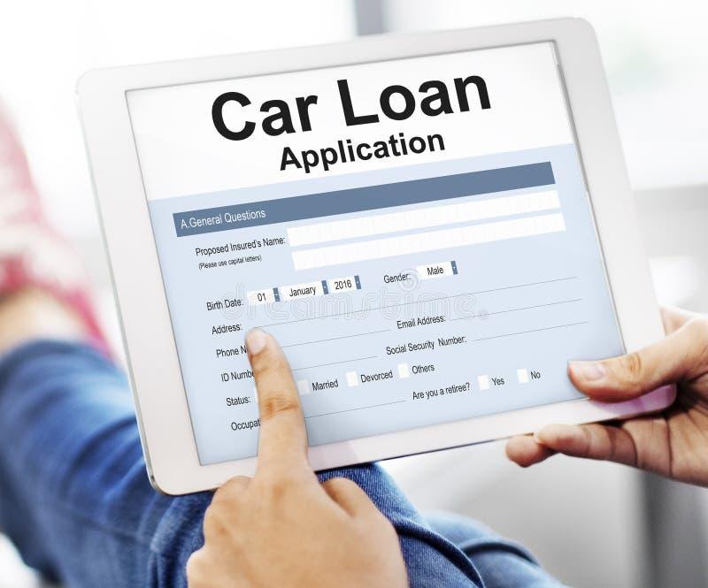 Begrepp för pengar för applikation för finans för billån royaltyfri foto