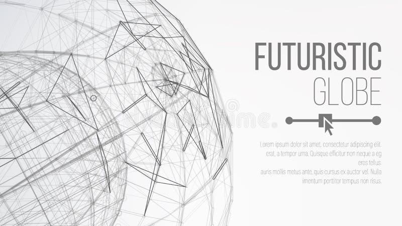 begrepp för planet 3d abstrakt bakgrundsteknologi Abstrakt polygonal utrymmebakgrund Abstrakt sfärform Vektor abstrakta Gri royaltyfri illustrationer
