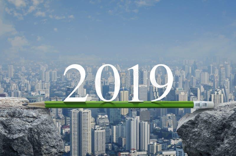 Begrepp för planläggning för affärsstrategi, kalenderräkning 2019 för lyckligt nytt år royaltyfri bild