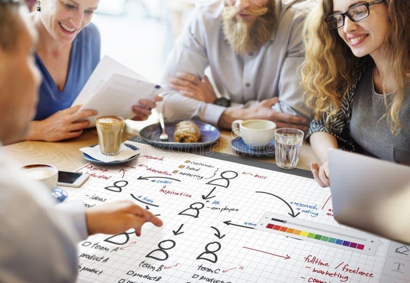 Begrepp för planläggning för ledning för organisationsdiagram fotografering för bildbyråer
