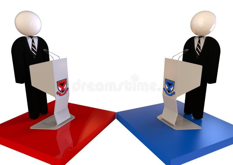 Begrepp för politisk debatt stock illustrationer
