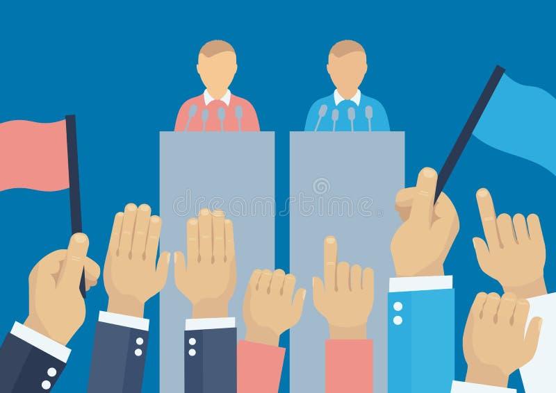 Begrepp för politisk debatt royaltyfri illustrationer