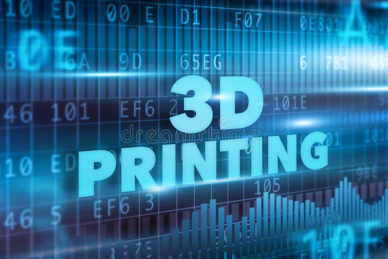 begrepp för printing 3D stock illustrationer